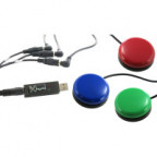 P.I. Engineering X-keys USB 3 Switch Interface with Red, Green, and Blue Orby Switches
